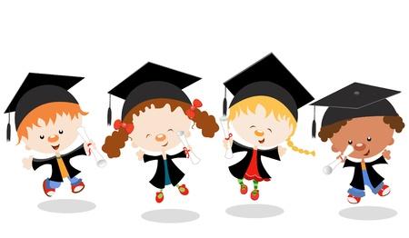 graduacion caricatura: Niños graduados felices Vectores