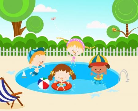 schwimmring: Kinder Schwimmbad Illustration