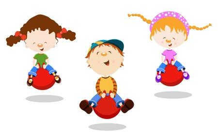 Kids On Hopper Ball Stock Vector - 10042362