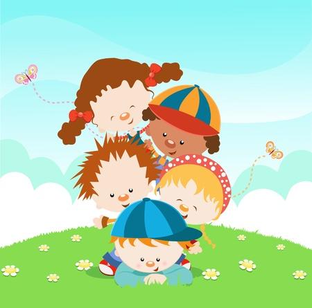 Cute Little Kids opgestapeld Stock Illustratie