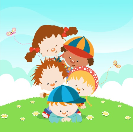 Cute Little Kids Piled Up Illustration