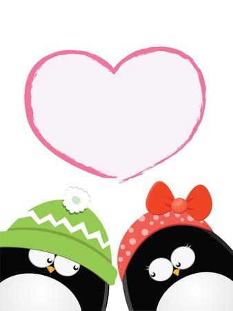 Penguin Love Card Illustration