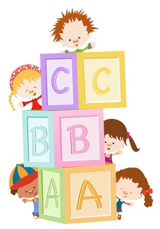 niños jugando en la escuela: Niños jugando con bloques