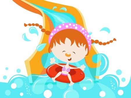 Meisje Op Het Water Slide Vector Illustratie