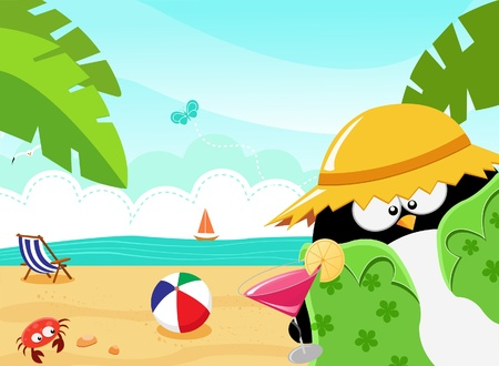 Summer Penguin with cocktail Ilustracja