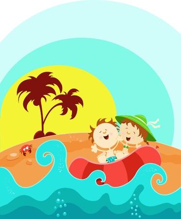 enfant maillot de bain: Enfants B�n�ficiant d'�t�