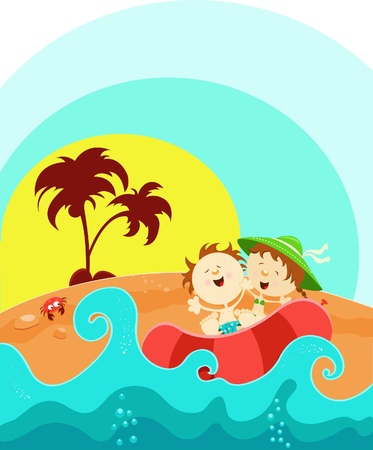 Kids Enjoying Summer Vector