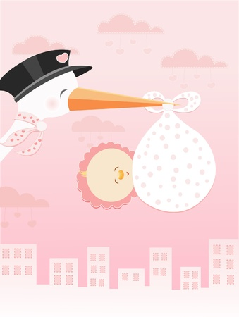 Stork Flying With Baby Girl Stock Vector - 10042379