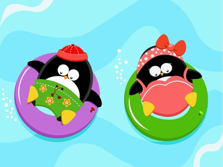 splash pool: Penguins Enjoying Water Illustration