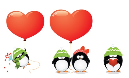 Penguin Love Set Illustration
