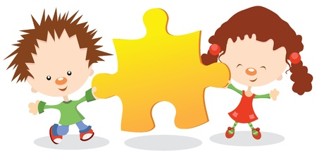 Kids Holding Puzzle Peace Stock Vector - 10042381