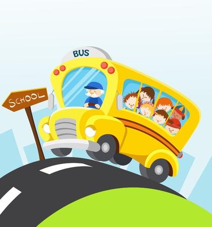 niños jugando caricatura: Autobús escolar