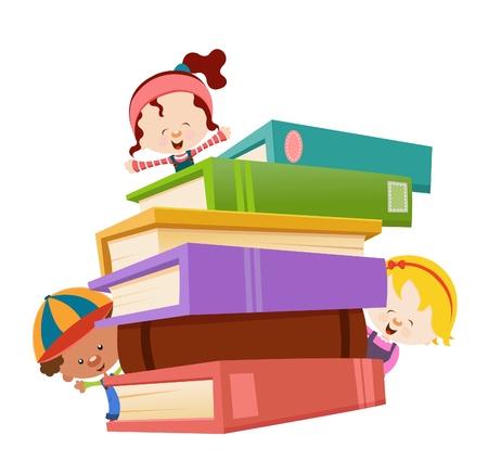 Kids With Bücher Vektorgrafik