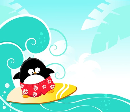 cartoon penguin: Surfing Penguin