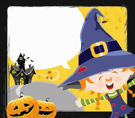 Witch Girls Message Vector