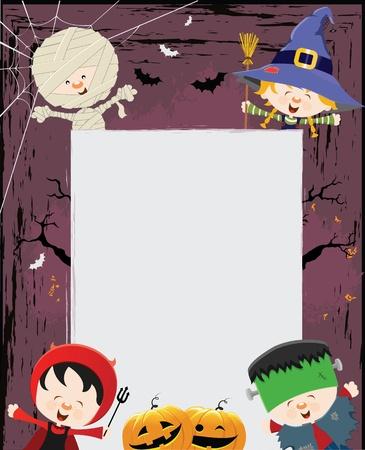 frankenstein: Halloween Kids Message Illustration