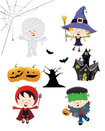 Halloween Kinder Set Stock Illustratie