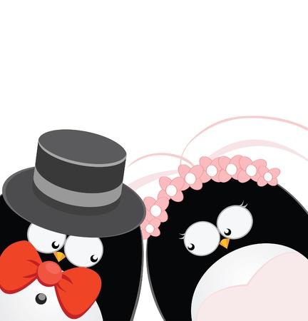 Penguins Get Married Vector