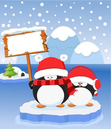 ペンギンのメッセージ  イラスト・ベクター素材