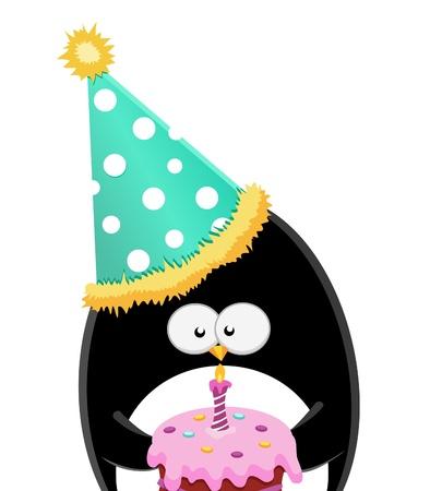 pastel feliz cumplea�os: Ping�ino con la torta de cumplea�os Vectores