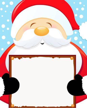 Santa Holding Blank Sign Vector