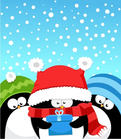 christmas penguins: Aqu� est� tu regalo