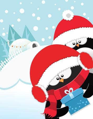 pinguinos navidenos: Ping�inos 'Sorpresa de Navidad Vectores