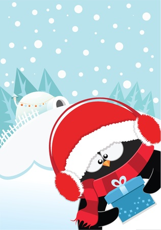 Cute Penguins Christmas Gift Vector