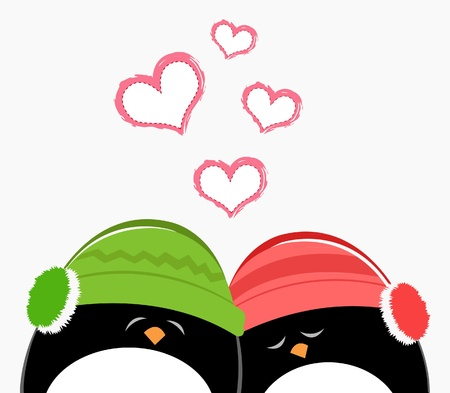 Cute Penguins In Love Ilustracja