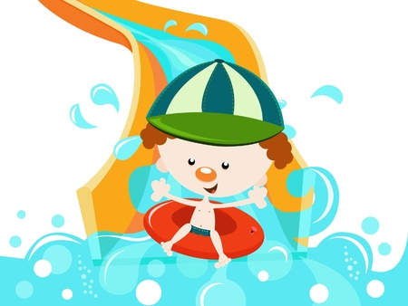 Boy character On Water Slide