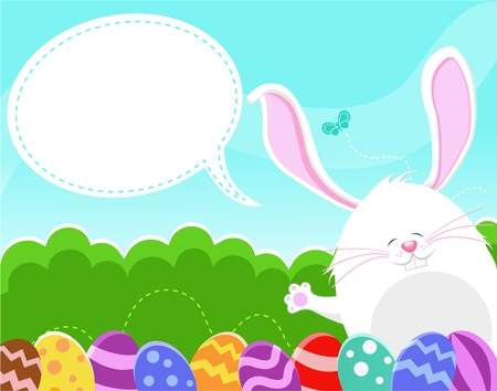 Bunnys Easter Message Vector