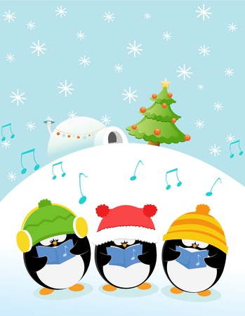 Caroler Penguins Vector