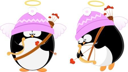 かわいいキューピッド ペンギン
