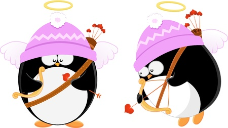 Cute Cupid Penguins Vector