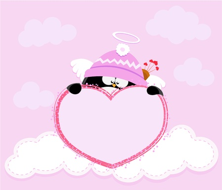 Cupid Penguin Holding Heart Vector