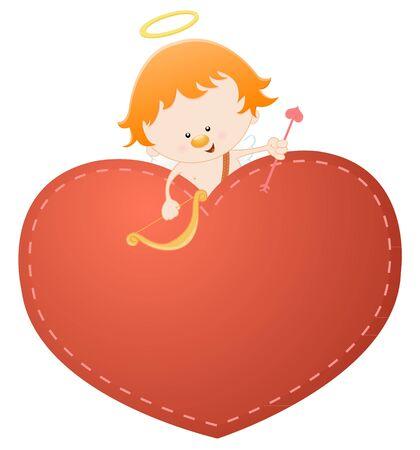 Cupid On The Heart Vector