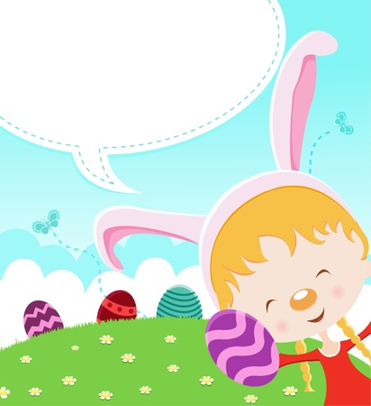 Easter Girl With Eggs Vector