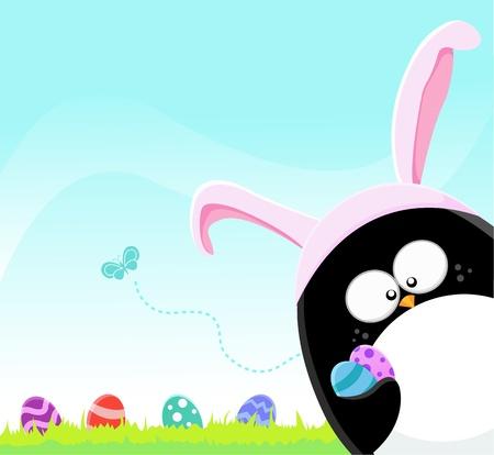 cartoon penguin: Easter Penguin Illustration