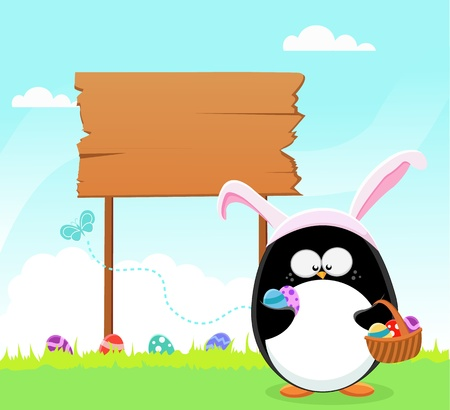 Easter Penguin With Billboard Vector