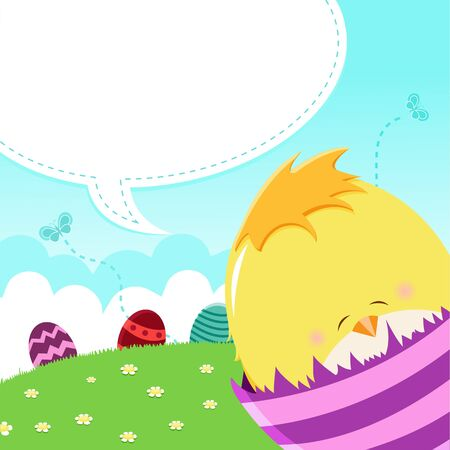 Baby Chick Easter Message Vector