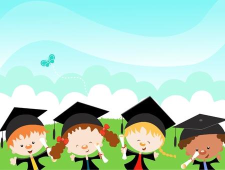 gorros de graduacion: Graduados Felices Vectores