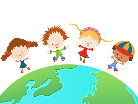 niños dibujando: Niños Felices del Mundo
