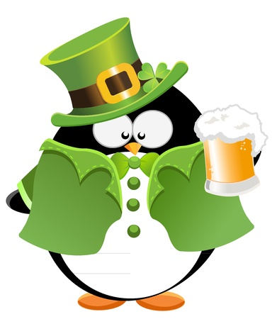 St Patricks Penguin Illustration