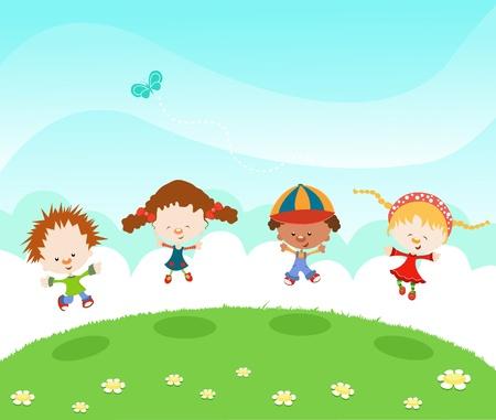 Groep kinderen met vreugde springen Stock Illustratie