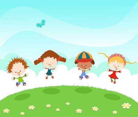 Group Of Kids Jumping With Joy Vector