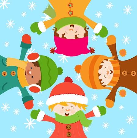 子供たちは雪を祝う  イラスト・ベクター素材