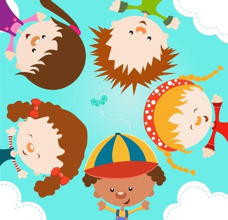 Kid characters Enjoying Spring Ilustracja