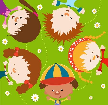 girl lying down: Kids enjoying Spring Illustration