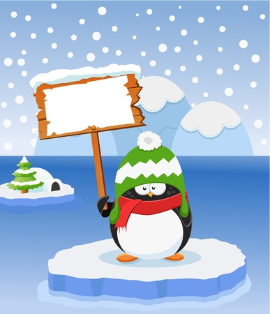 Penguin With Blank Sign Stock Vector - 11621981