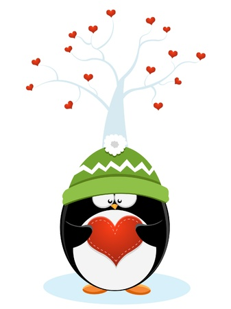 valentine s card: Penguin With Heart Illustration